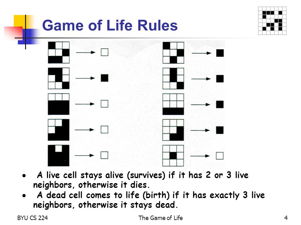 Game of Life Rules  A live cell stays alive (survives) if it has 2 or 3 live neighbors, otherwise it dies.