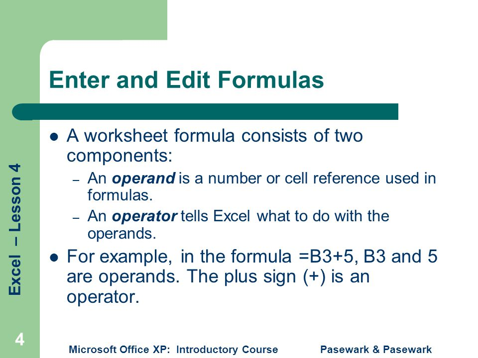 Enter and Edit Formulas