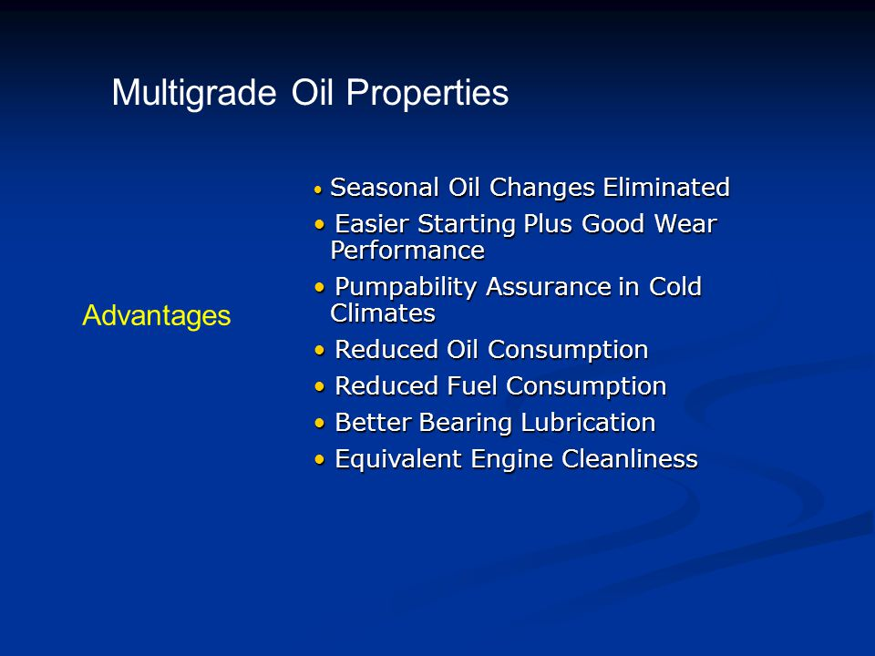 Multigrade Oil Properties