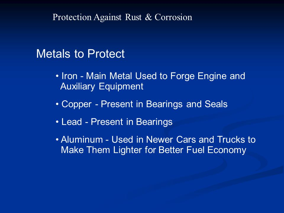 Metals to Protect Protection Against Rust & Corrosion