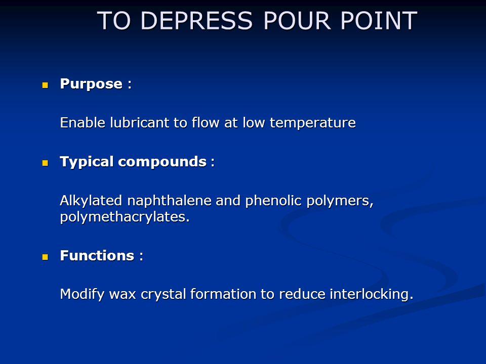 TO DEPRESS POUR POINT Purpose :