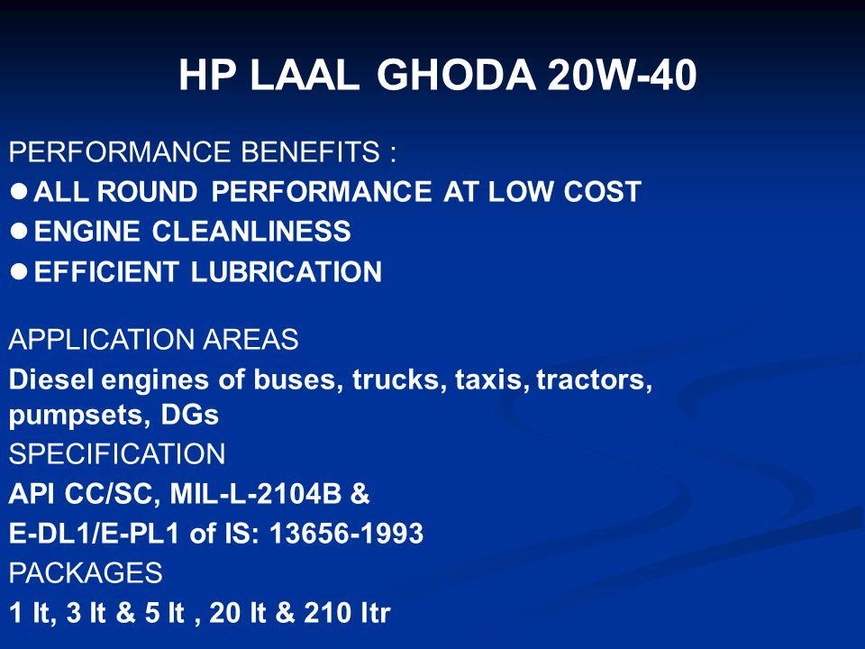 HP LAAL GHODA 20W-40 PERFORMANCE BENEFITS :