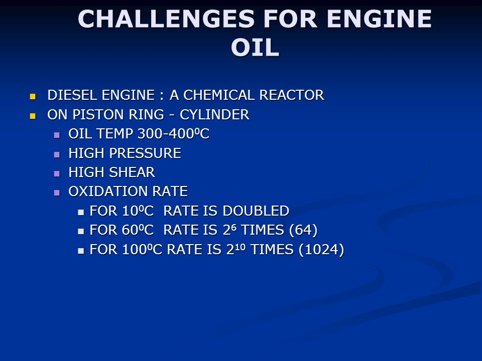 CHALLENGES FOR ENGINE OIL