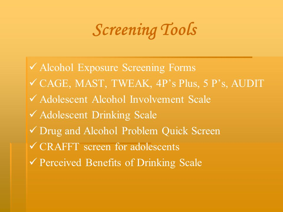 Screening Tools Alcohol Exposure Screening Forms
