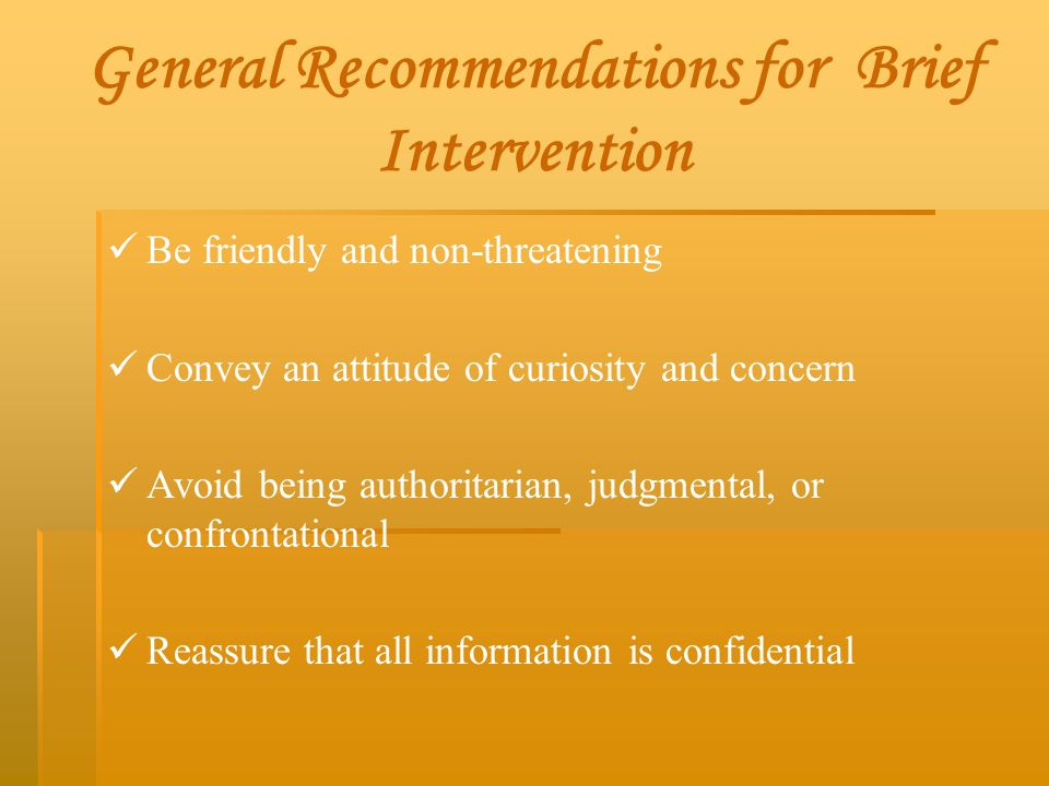 General Recommendations for Brief Intervention