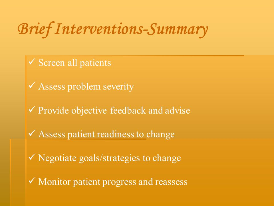 Brief Interventions-Summary