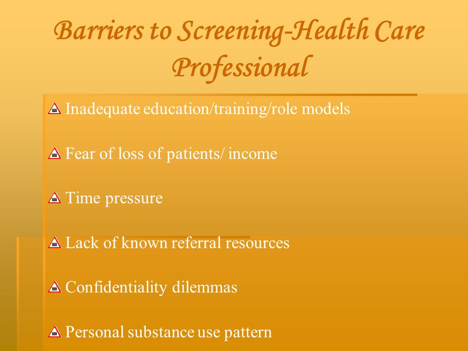 Barriers to Screening-Health Care Professional