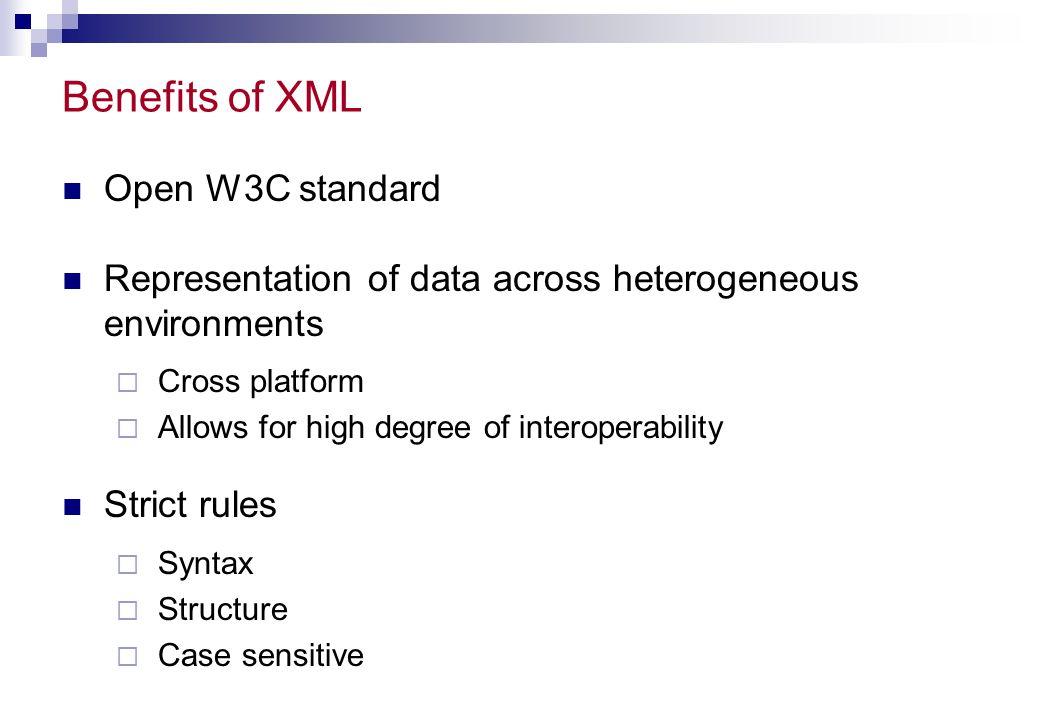 Benefits of XML Open W3C standard