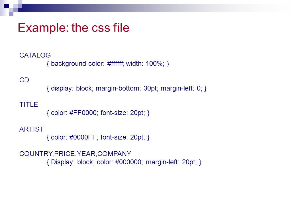 Example: the css file CATALOG