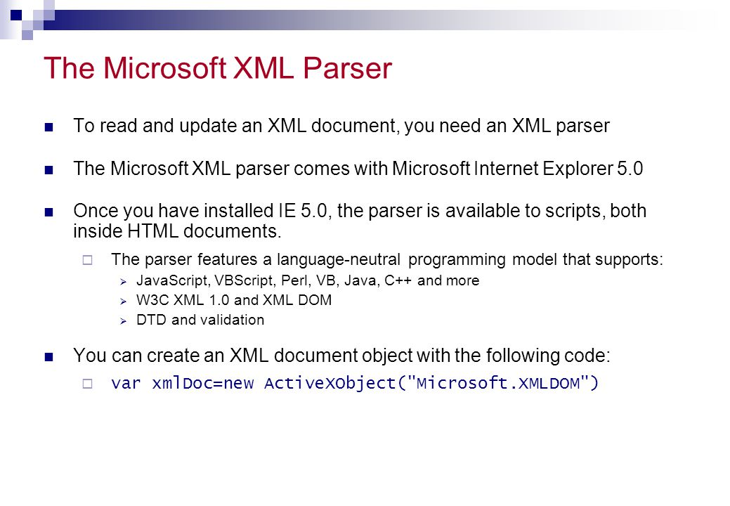 The Microsoft XML Parser