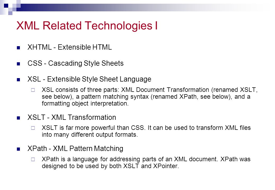 XML Related Technologies I