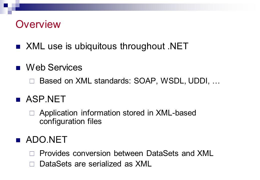 Overview XML use is ubiquitous throughout .NET Web Services ASP.NET