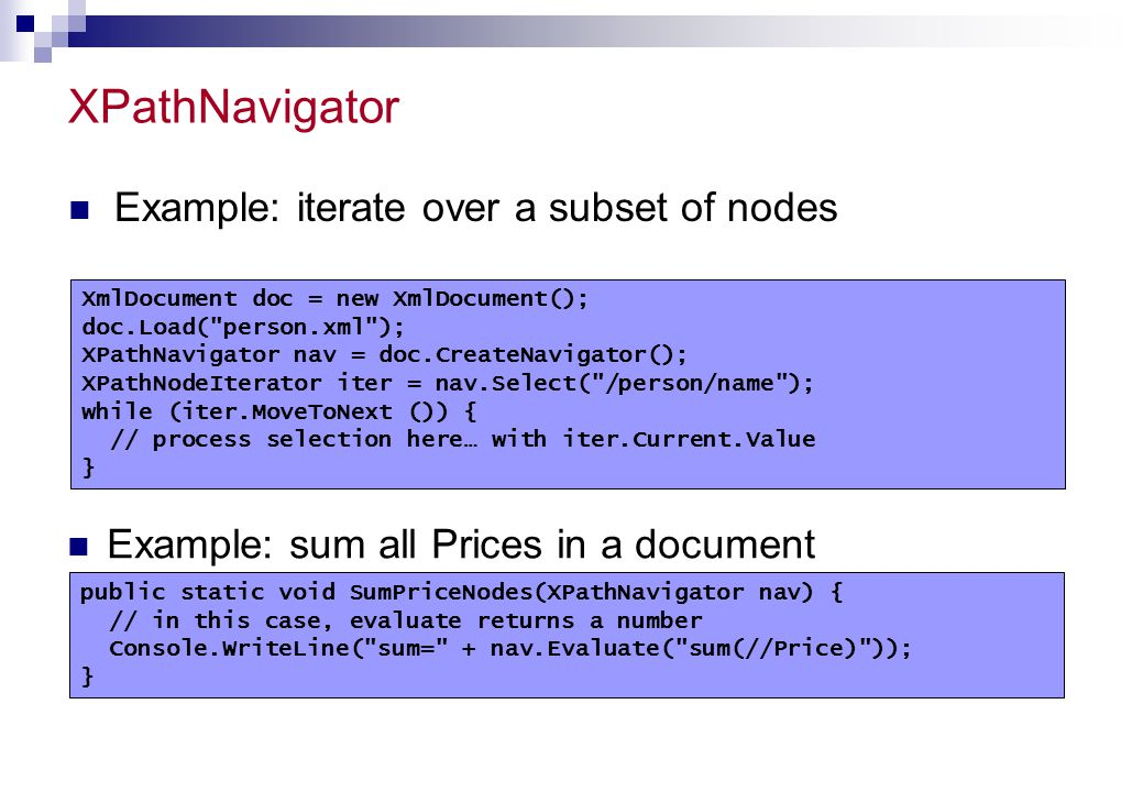 XPathNavigator Example: iterate over a subset of nodes