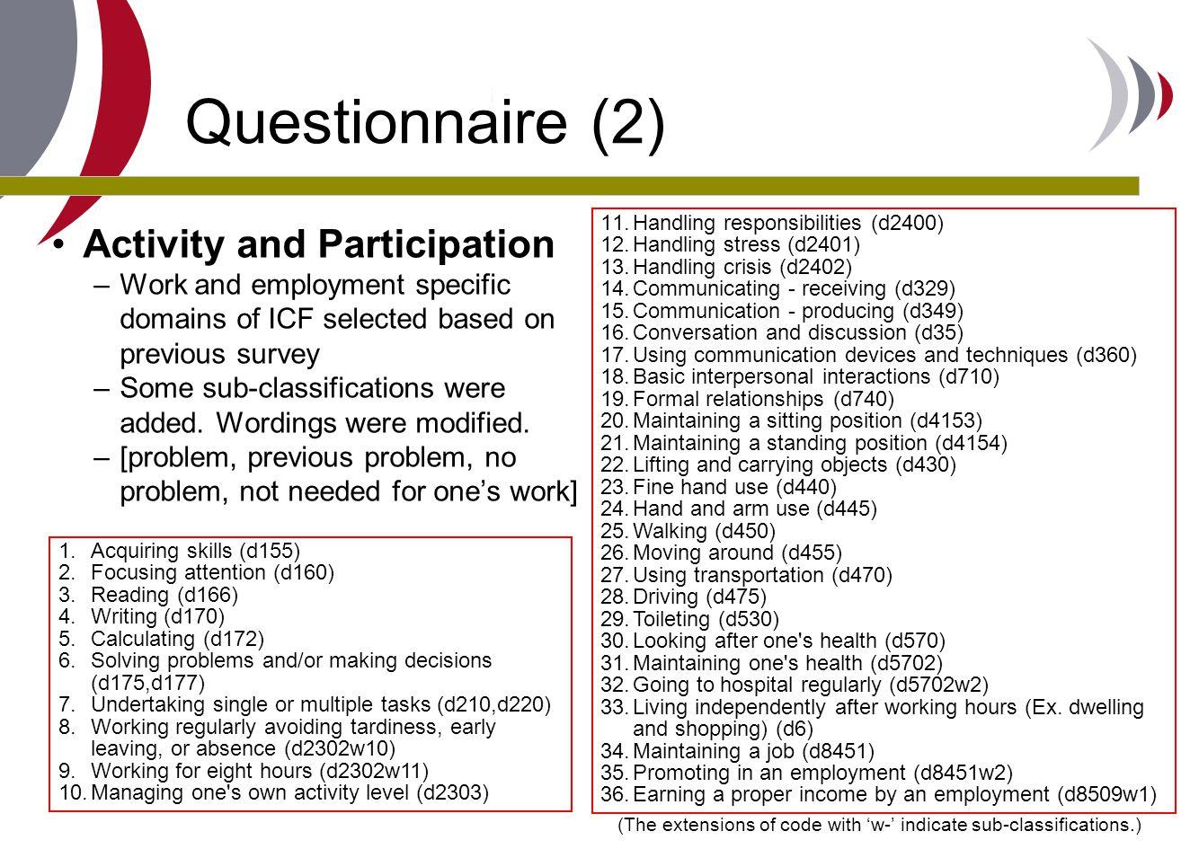 Questionnaire (2) Activity and Participation