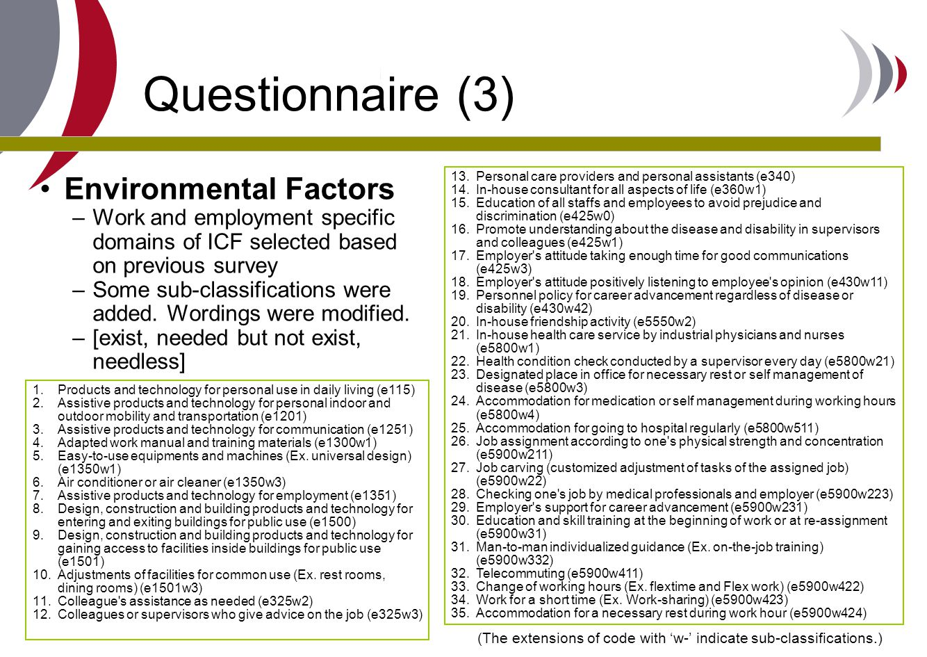 Questionnaire (3) Environmental Factors