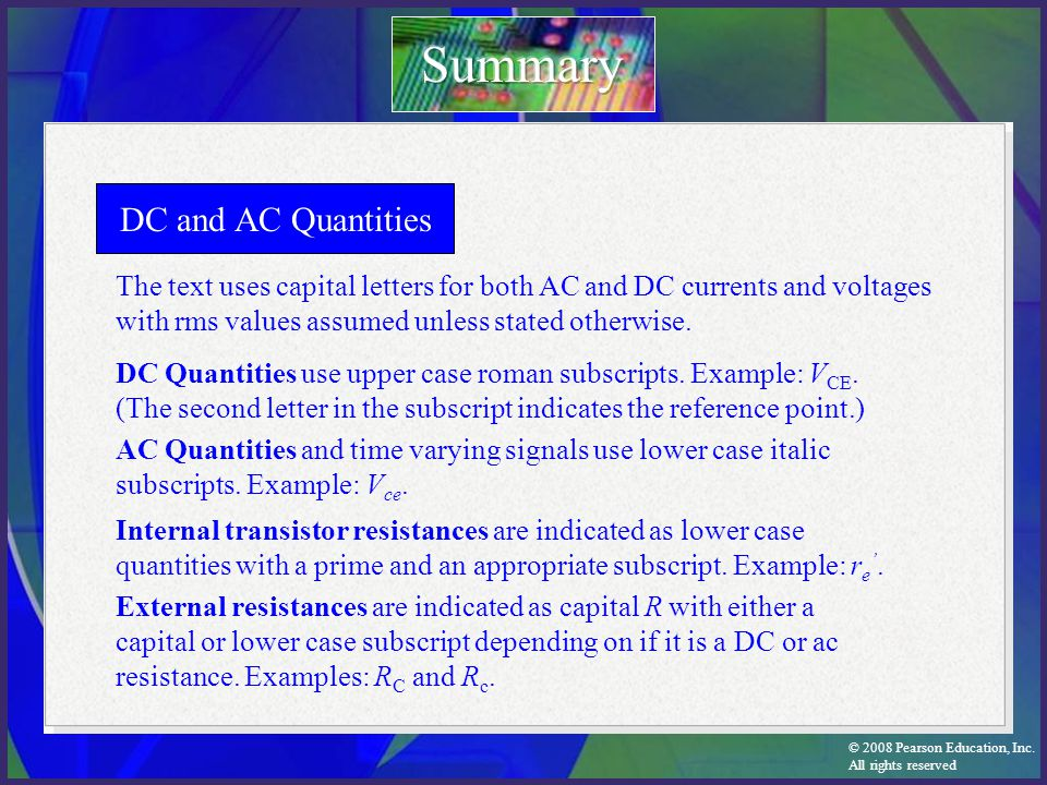 Summary DC and AC Quantities
