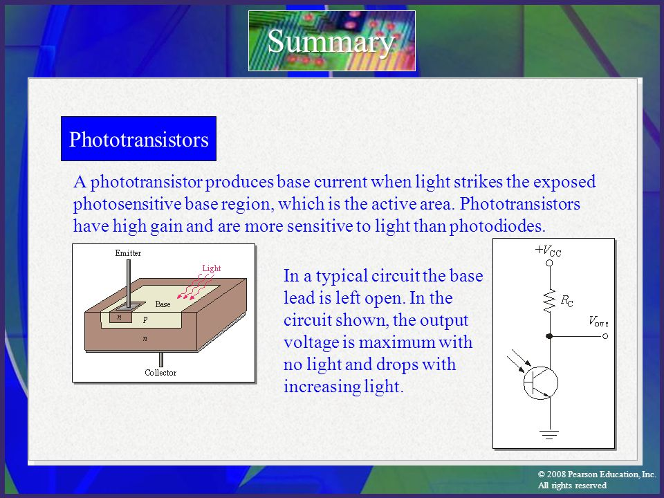 Summary Phototransistors