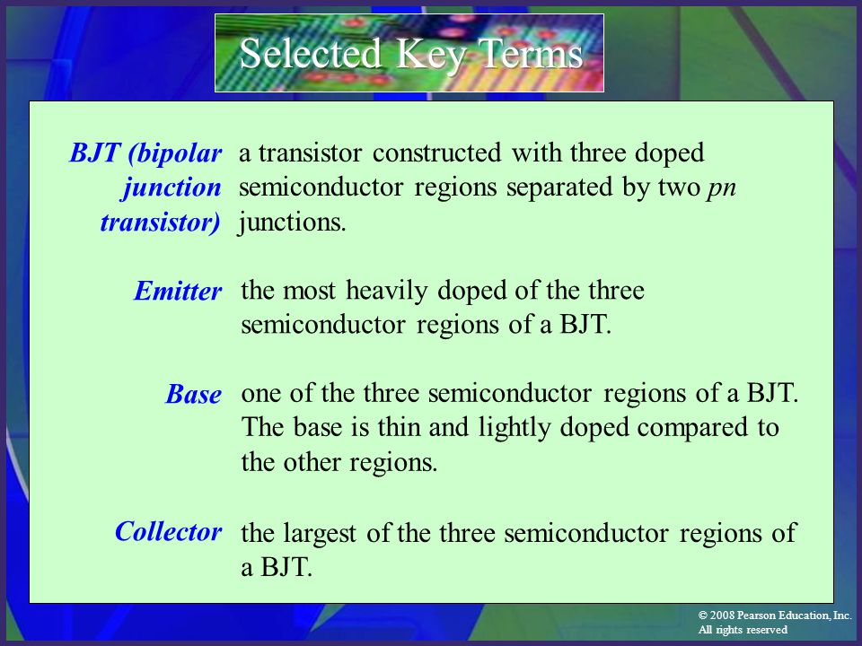 Selected Key Terms BJT (bipolar junction transistor) Emitter Base