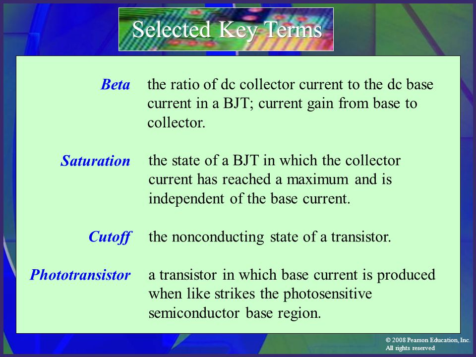 Selected Key Terms Beta Saturation Cutoff Phototransistor