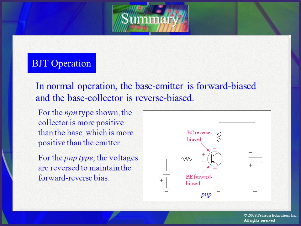 Summary BJT Operation. In normal operation, the base-emitter is forward-biased and the base-collector is reverse-biased.