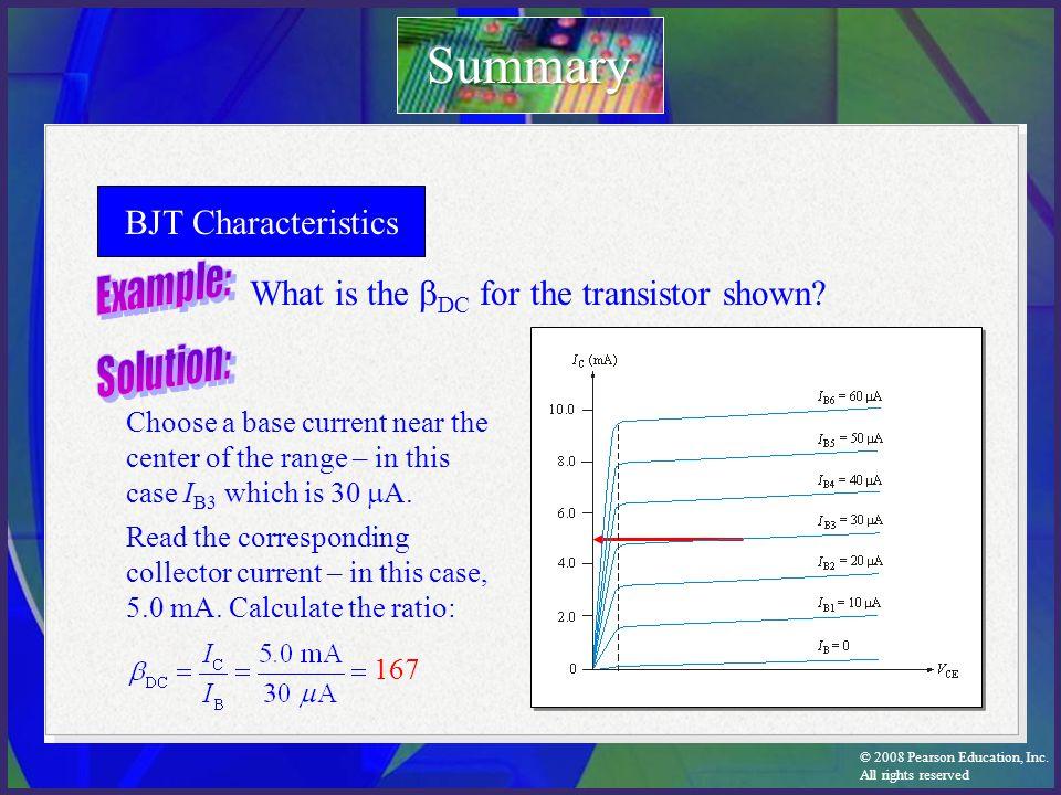 Summary BJT Characteristics Example: