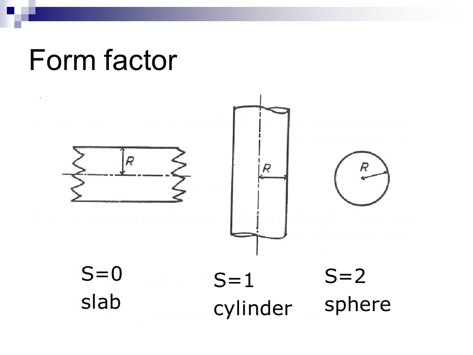 Form factor S=0 slab S=1 cylinder S=2 sphere