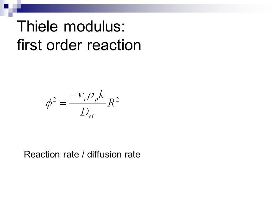 Thiele modulus: first order reaction