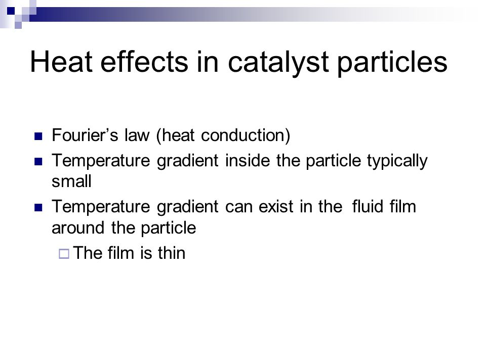 Heat effects in catalyst particles