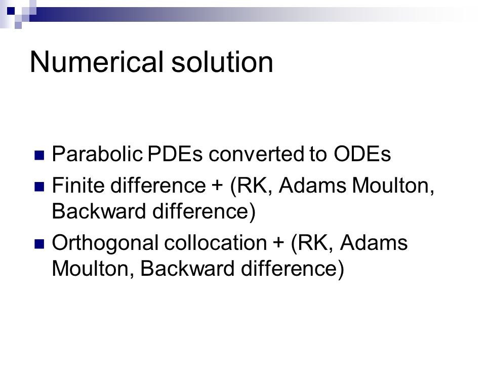 Numerical solution Parabolic PDEs converted to ODEs