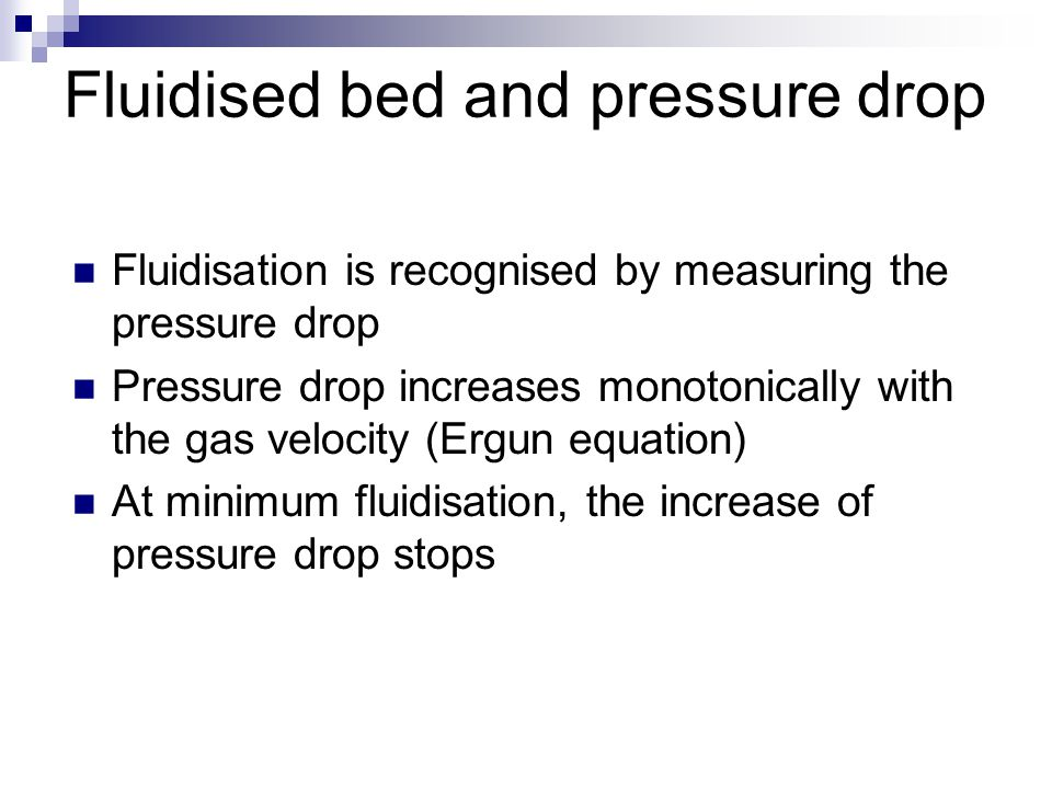 Fluidised bed and pressure drop