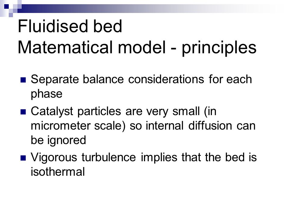 Fluidised bed Matematical model - principles