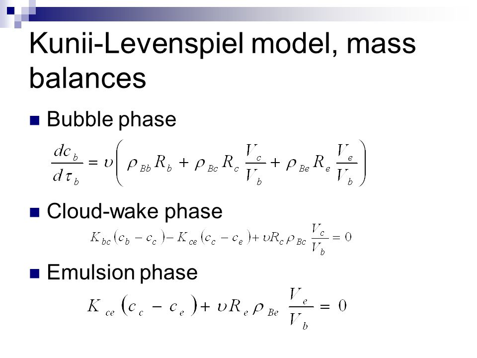Kunii-Levenspiel model, mass balances