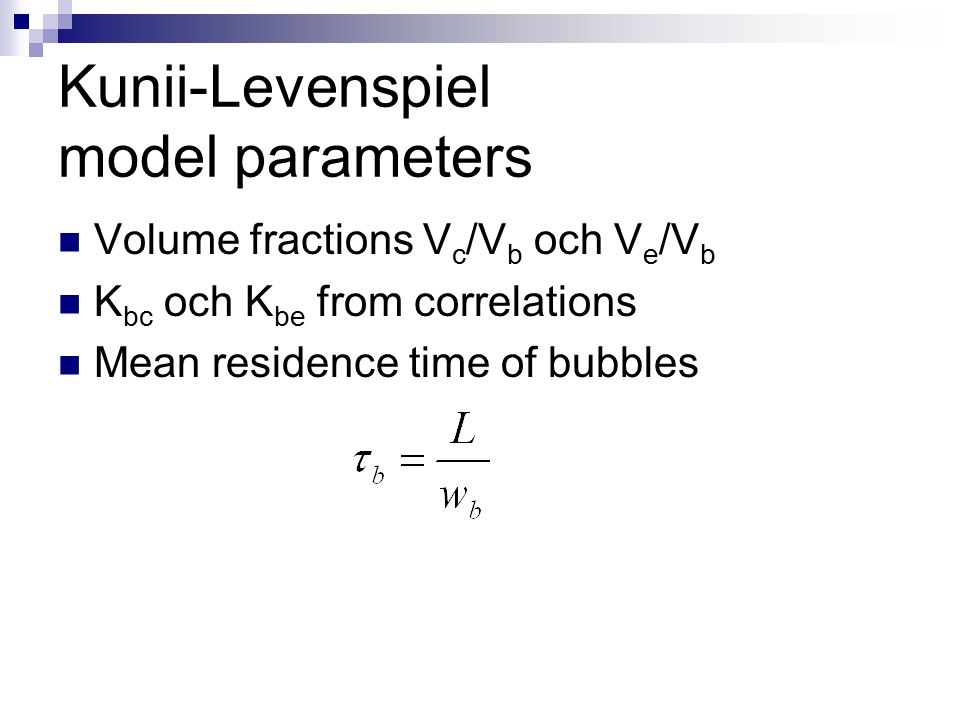Kunii-Levenspiel model parameters