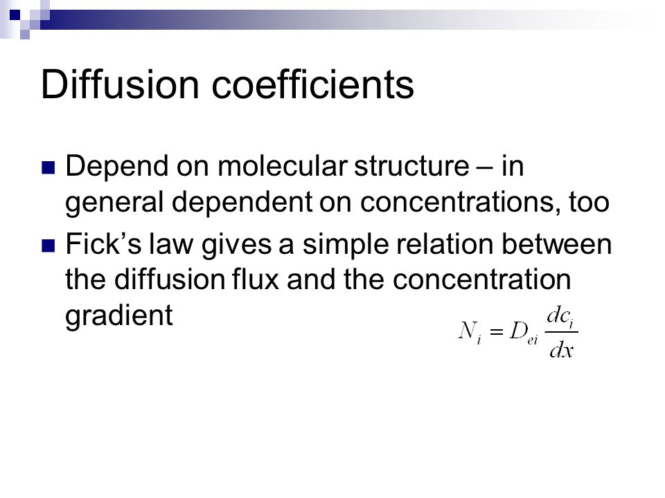 Diffusion coefficients