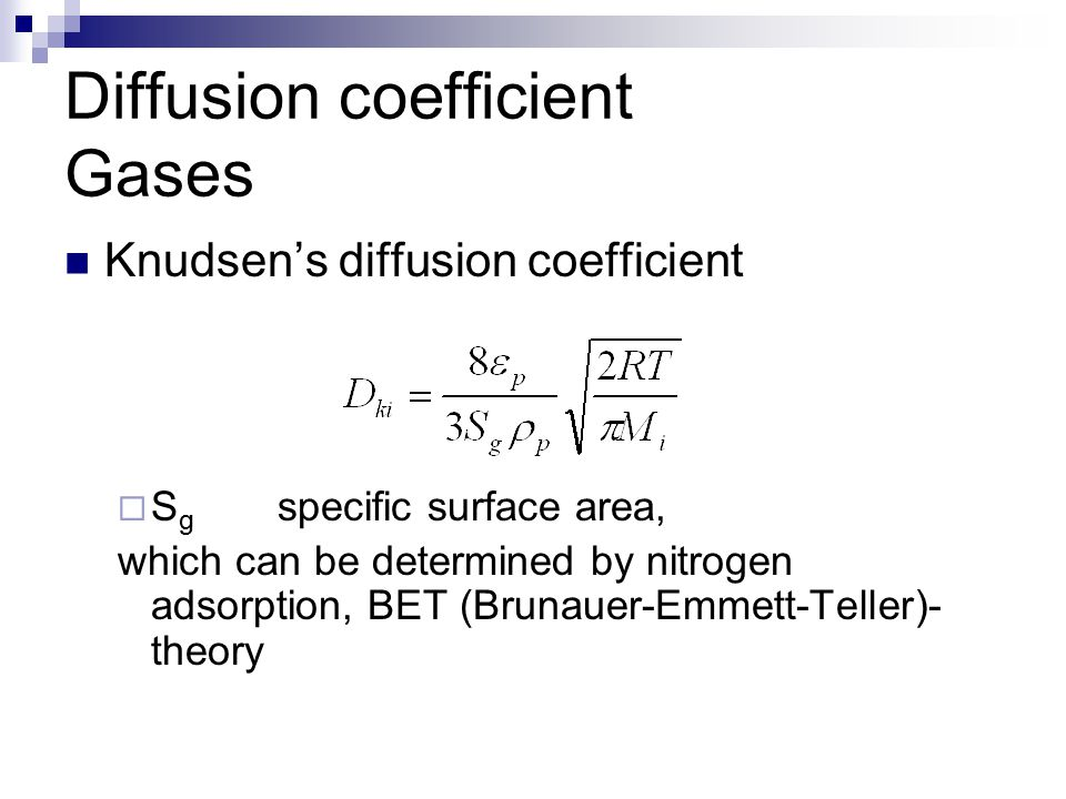 Diffusion coefficient Gases