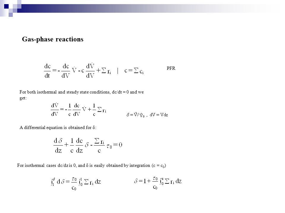 Gas-phase reactions PFR