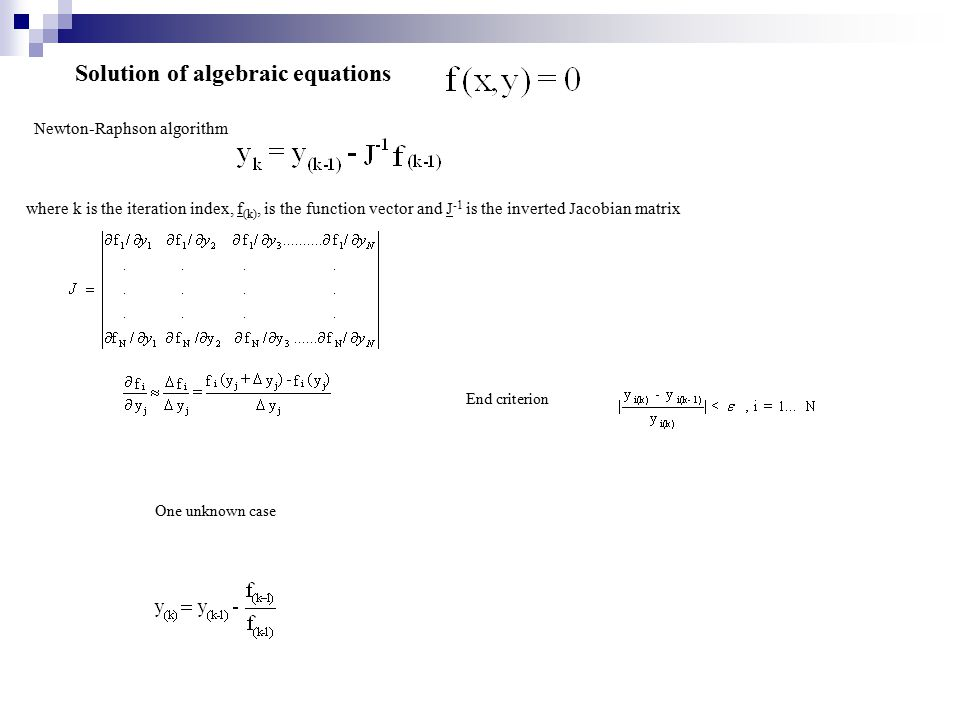 Solution of algebraic equations
