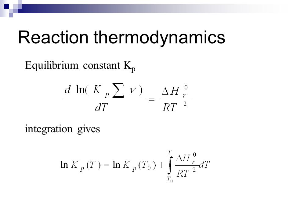 Reaction thermodynamics