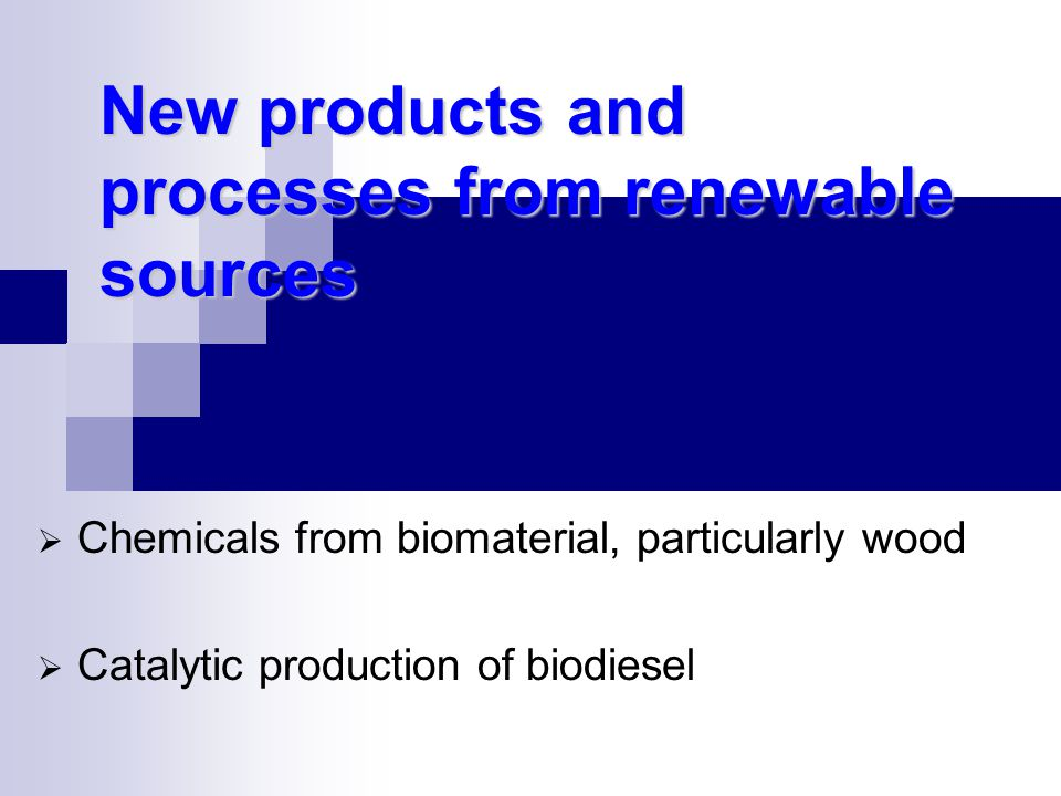 New products and processes from renewable sources