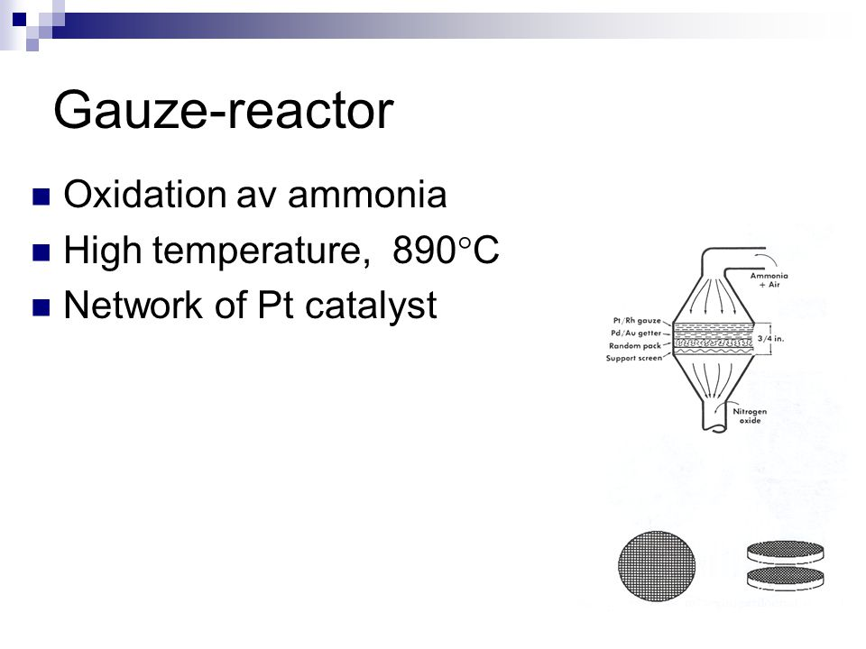 Gauze-reactor Oxidation av ammonia High temperature, 890°C