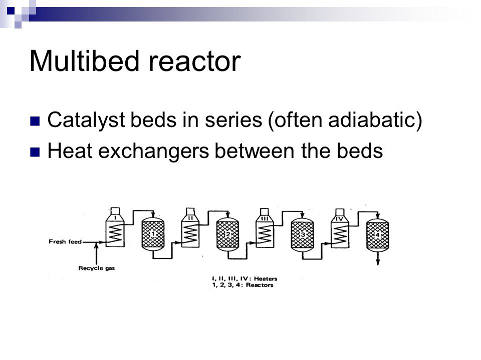 Multibed reactor Catalyst beds in series (often adiabatic)