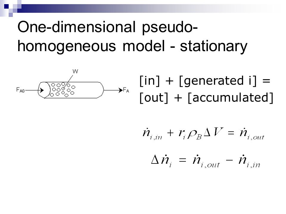 One-dimensional pseudo-homogeneous model - stationary