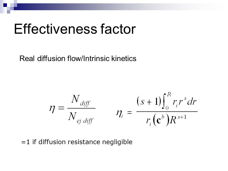 Effectiveness factor Real diffusion flow/Intrinsic kinetics