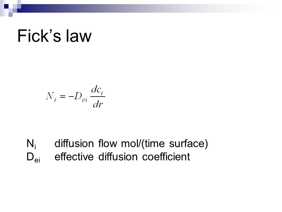 Fick's law Ni diffusion flow mol/(time surface)