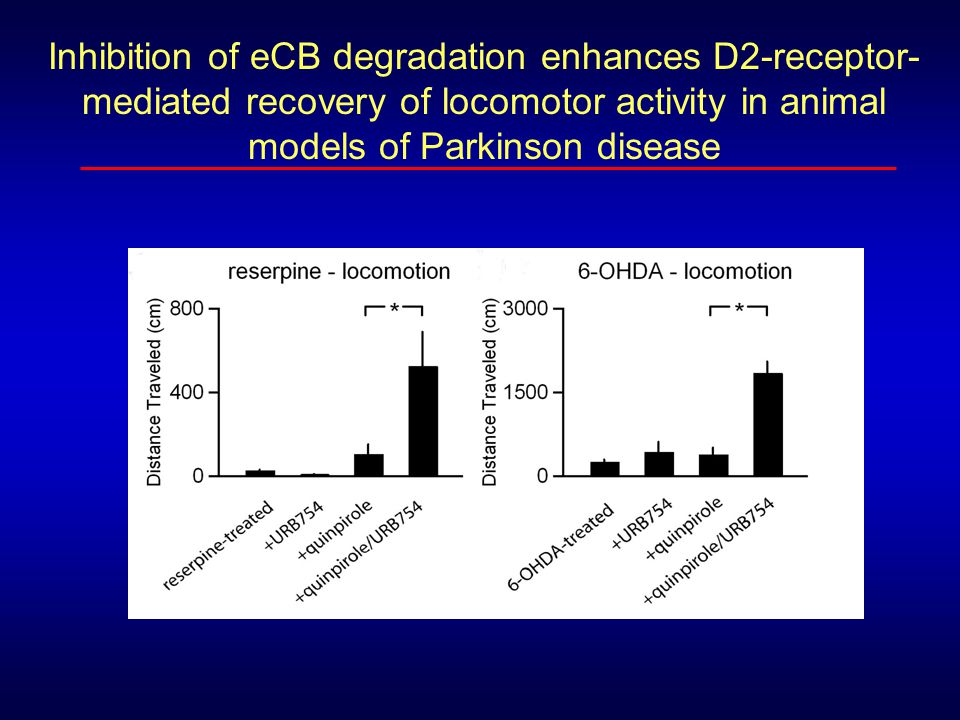 Inhibition of eCB degradation enhances D2-receptor-mediated recovery of locomotor activity in animal models of Parkinson disease