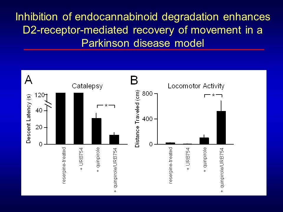 Inhibition of endocannabinoid degradation enhances D2-receptor-mediated recovery of movement in a Parkinson disease model