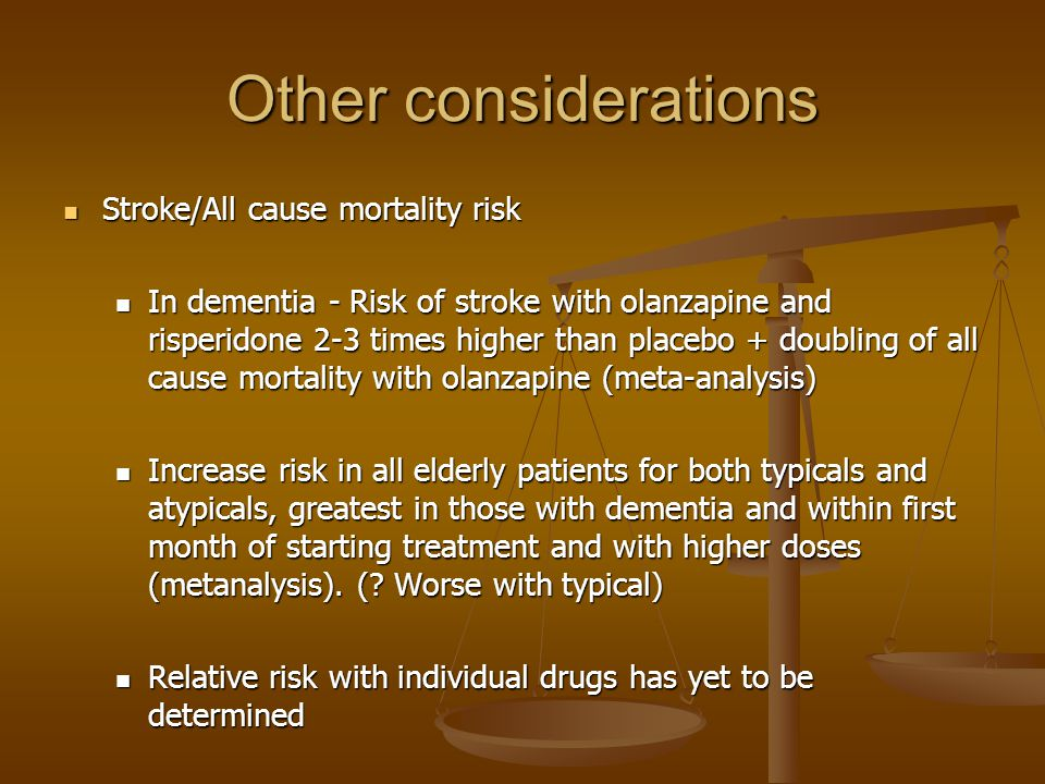 Other considerations Stroke/All cause mortality risk