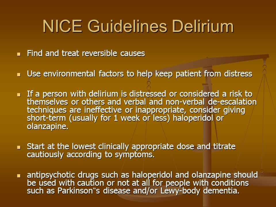 NICE Guidelines Delirium