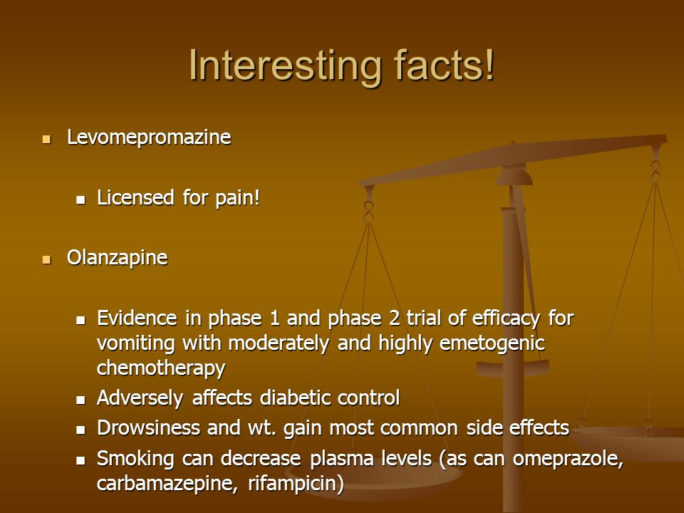 Interesting facts! Levomepromazine Licensed for pain! Olanzapine