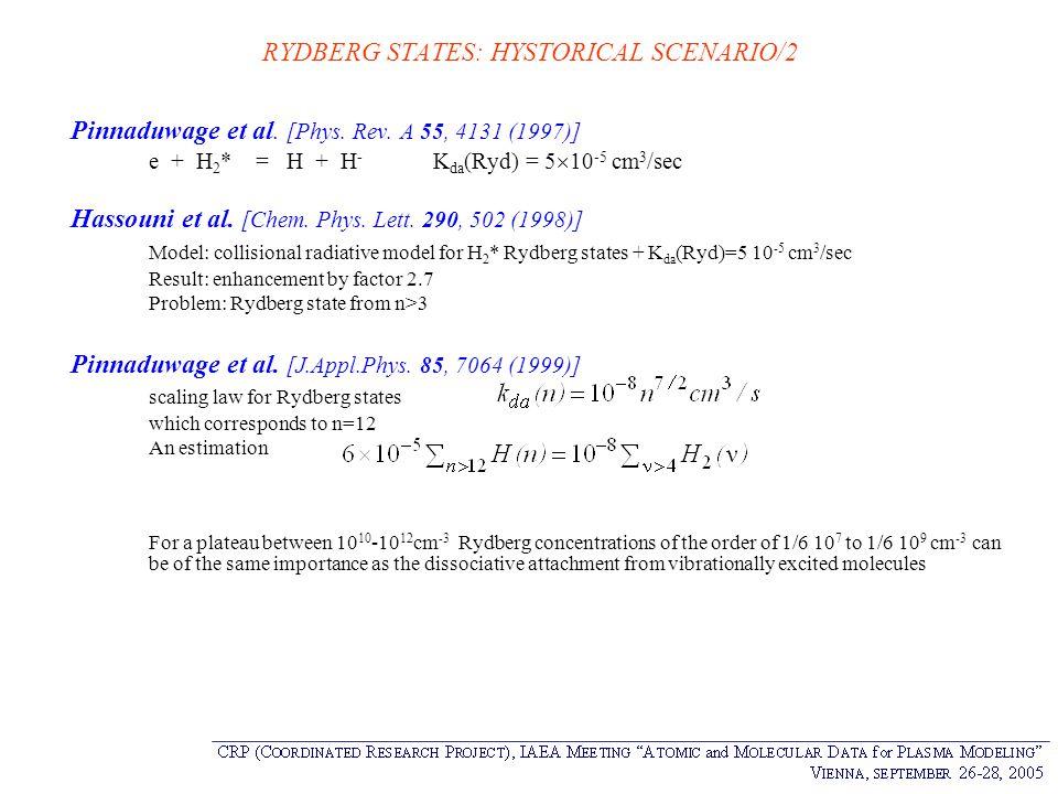 RYDBERG STATES: HYSTORICAL SCENARIO/2